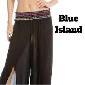 Blue Island Shirred Waist Wrap Chiffon Beach Pants